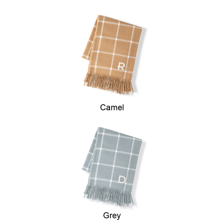 Color options for windowpane throw blanket