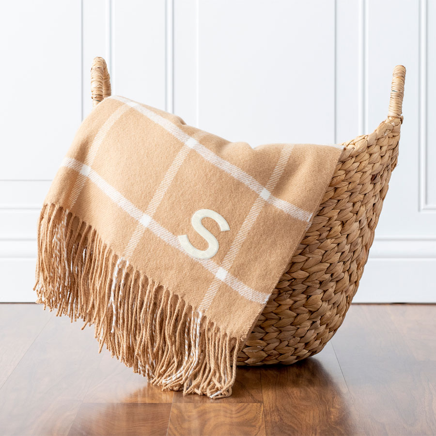 Personalized Camel Windowpane Throw Blanket with Single Initial embroidered in White Thread