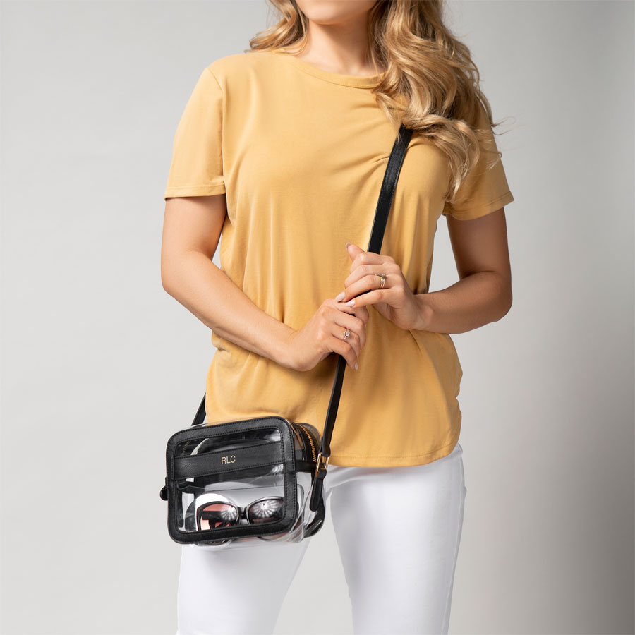 Personalized Black Crossbody Stadium Bag shown with three initials
