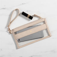 Creme stadium clutch shown with single initial in Gold Embossed Finish