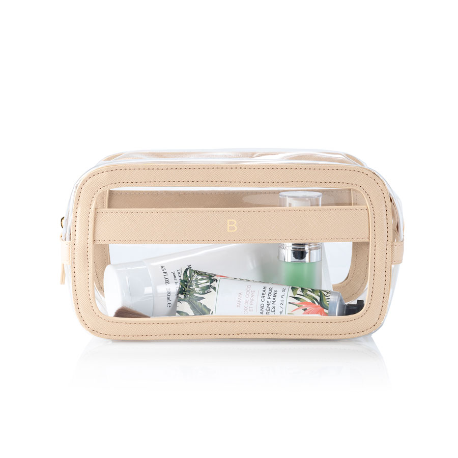 Creme Vegan Leather and Clear Cosmetic Bag