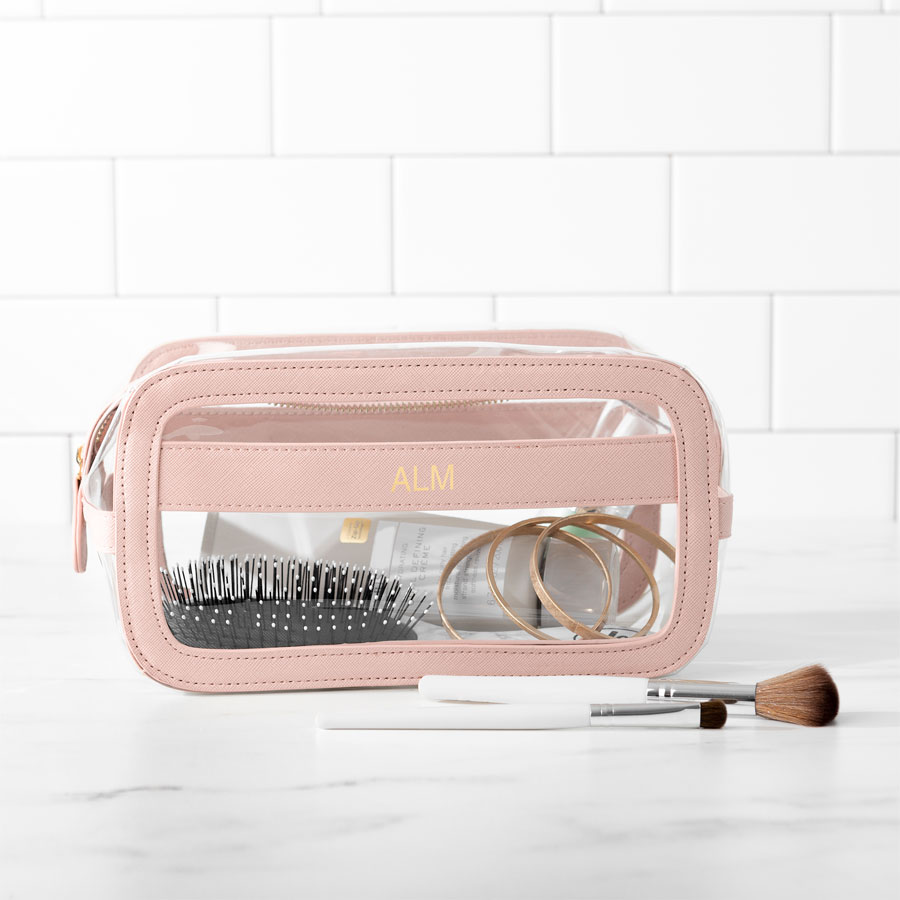 Pink Clear and Vegan Leather Cosmetic Bag with three Initials embossed in a gold finish