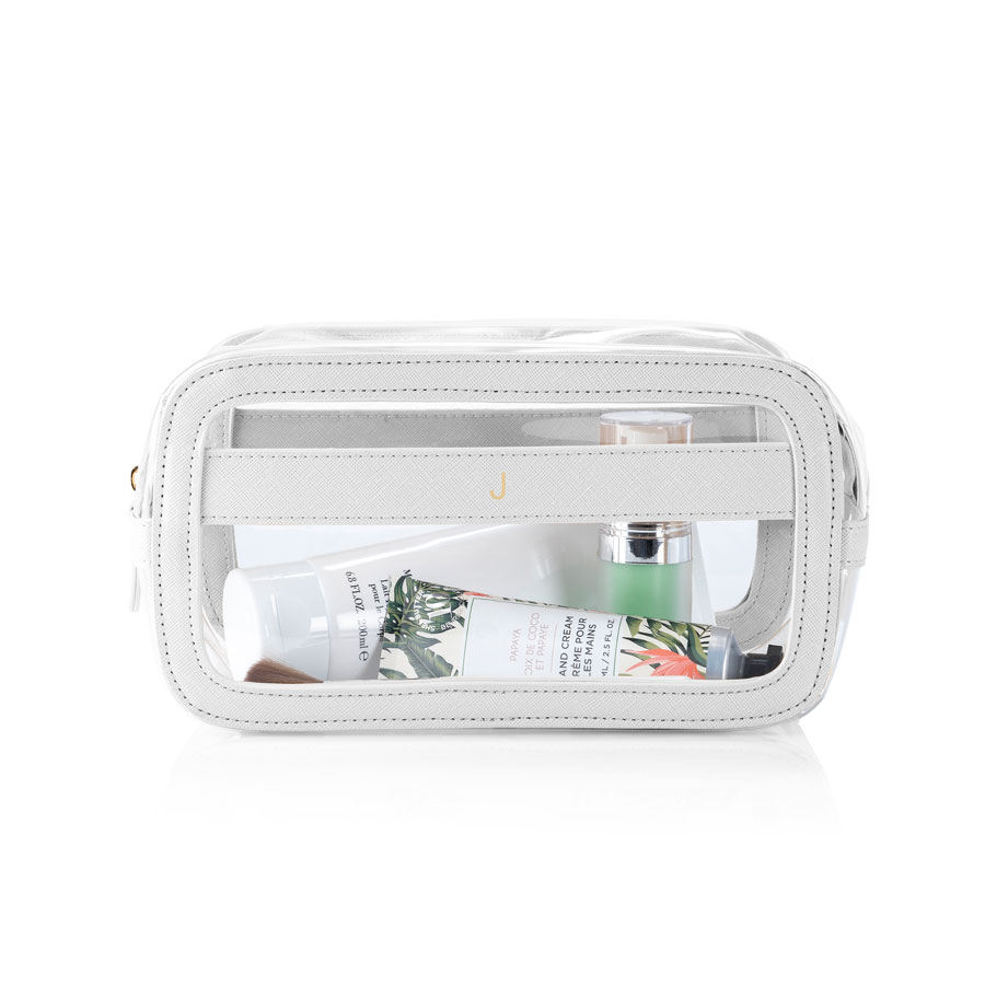 Clear Cosmetic Bag featuring White Vegan Leather Trim