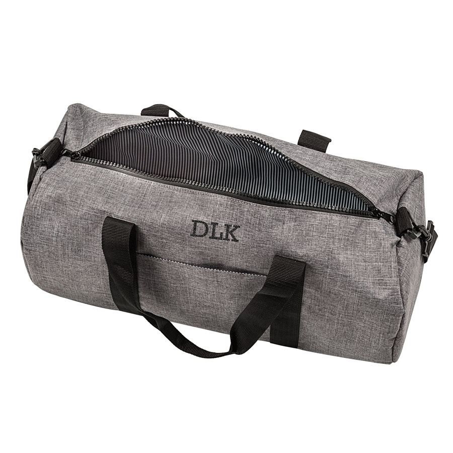 Personalized Gray Crosshatch Duffle Bag with Striped Interior