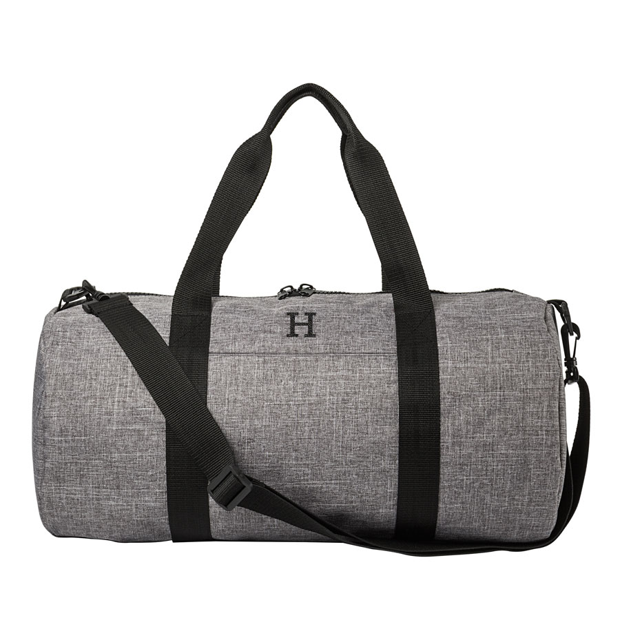 Single Initial embroidered in Black Thread Color on Gray Crosshatch Duffle Bag