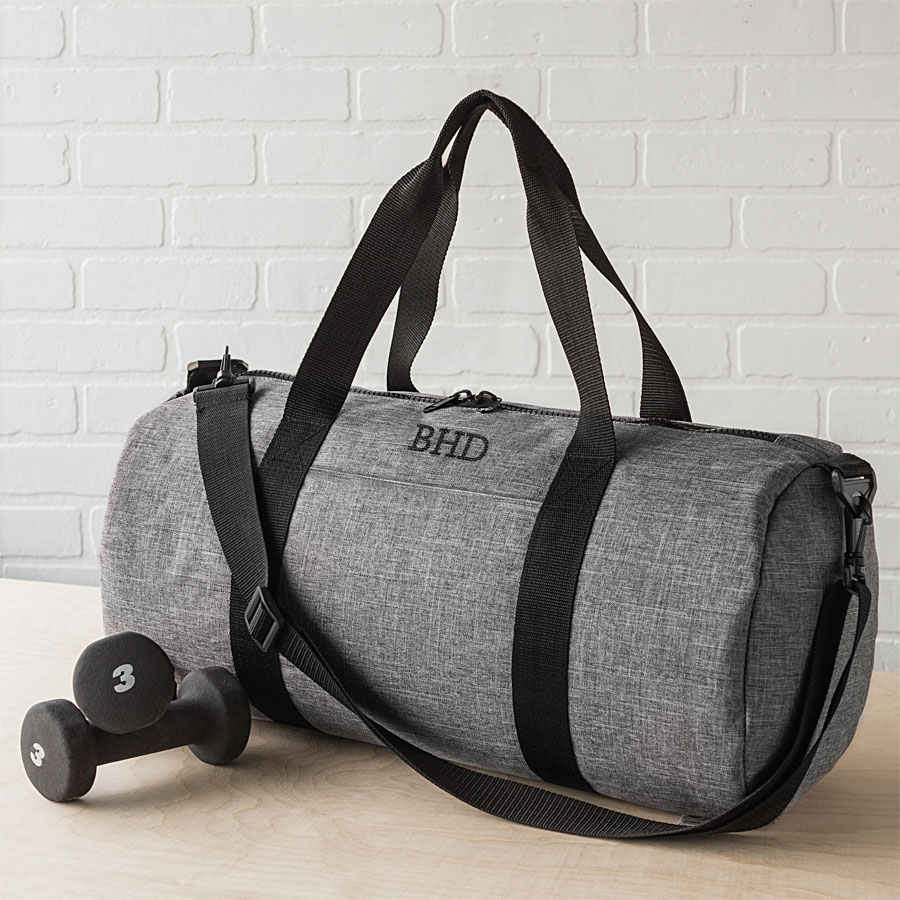 Personalized Grey Duffle Bag