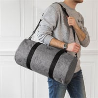 Personalized Grey Crosshatch Duffle Bag with Single Initial in Black Thread Color