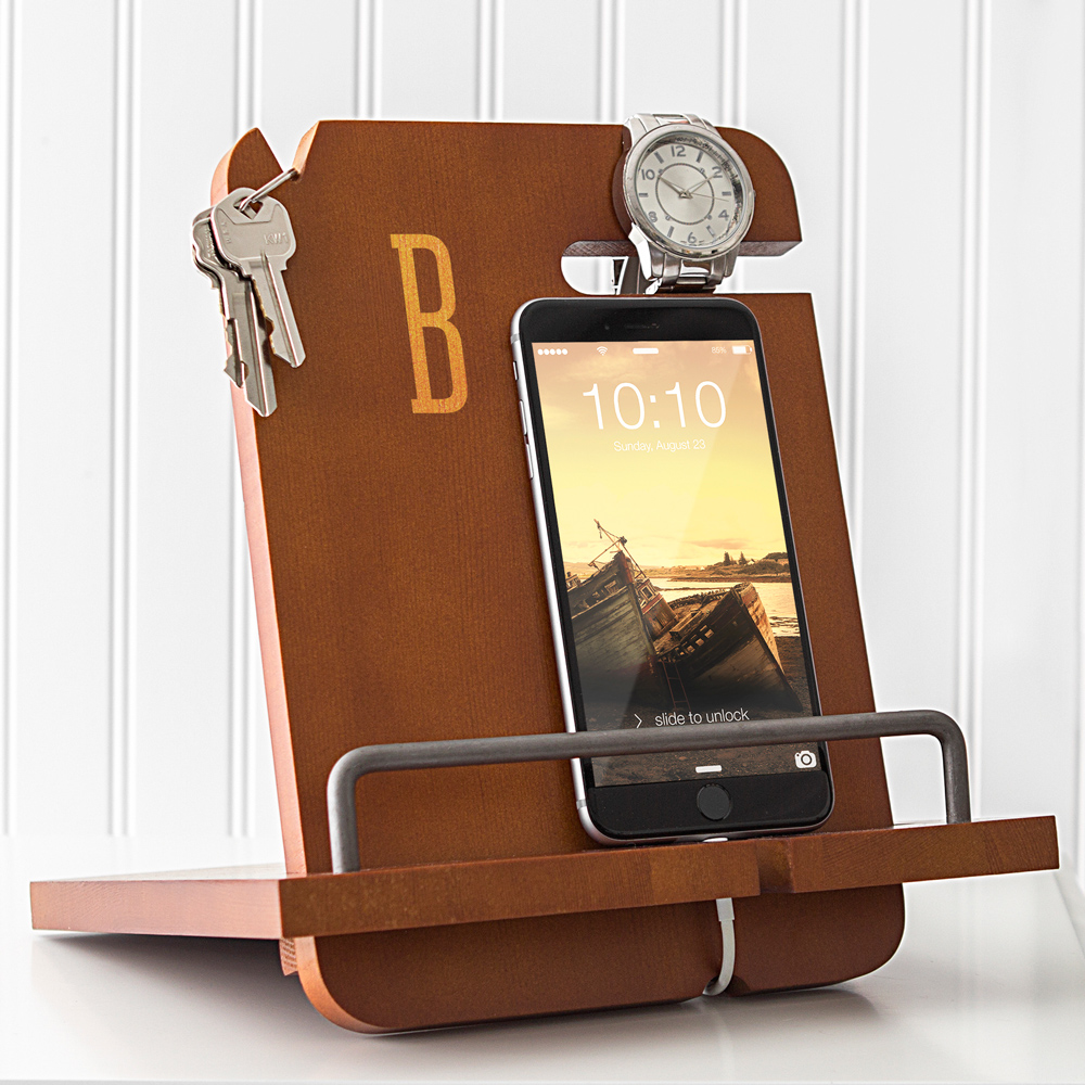 Personalized Men's Wood Nightstand Docking Station