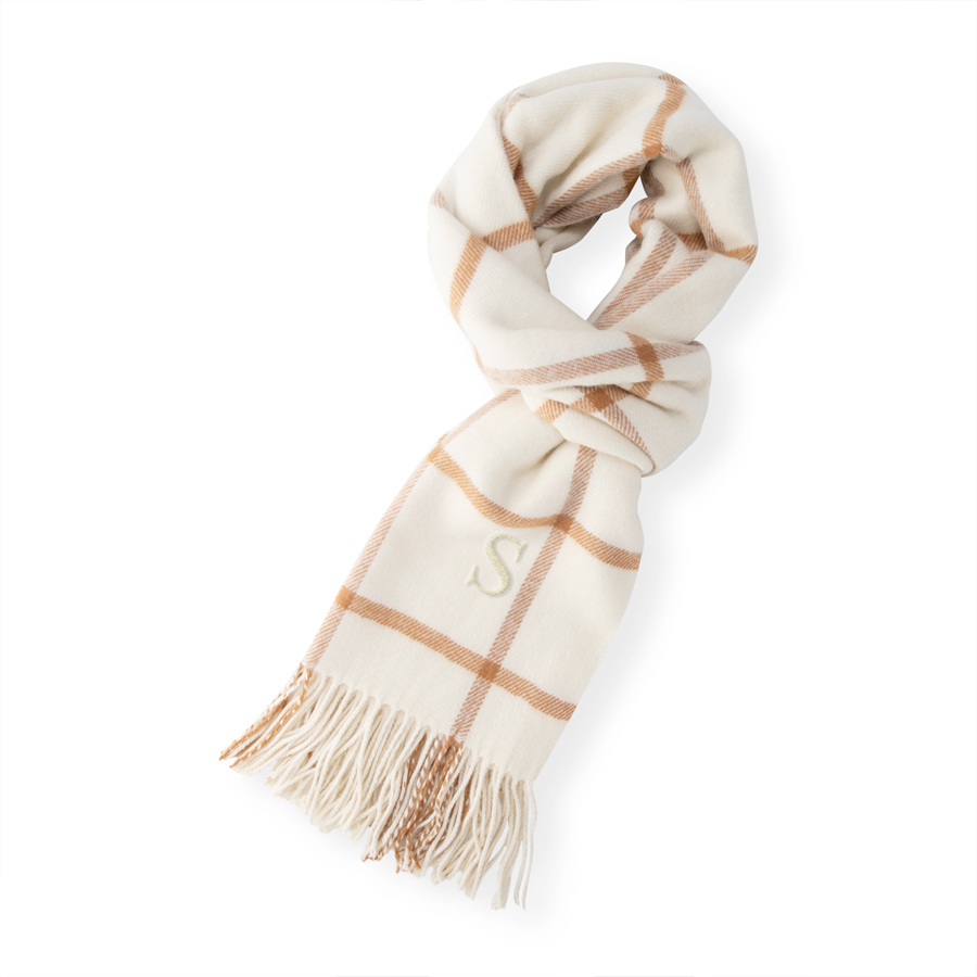 Camel Windowpane Scarf with Single Initial in Ivory Thread
