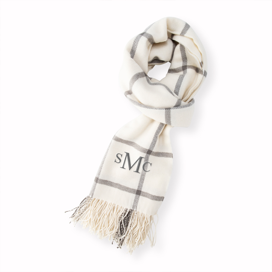 Grey blanket scarf with embroidered 3-letter monogram in grey thread color