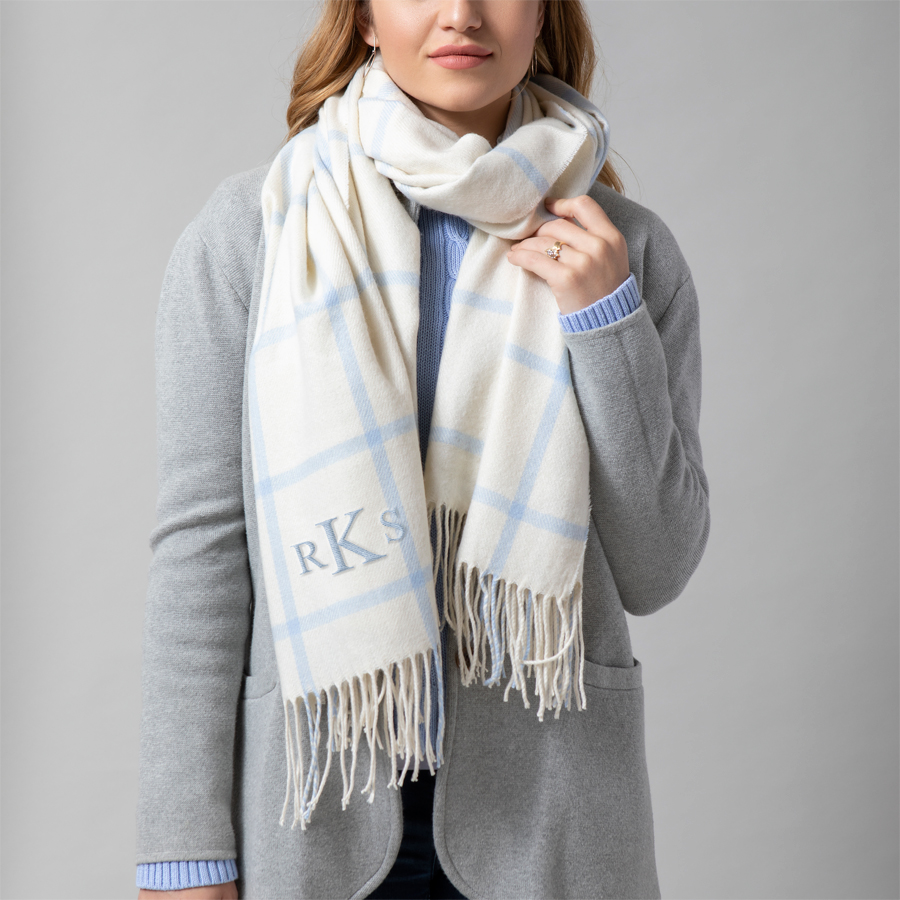 Ice Blue scarf with 3-letter monogram embroidered