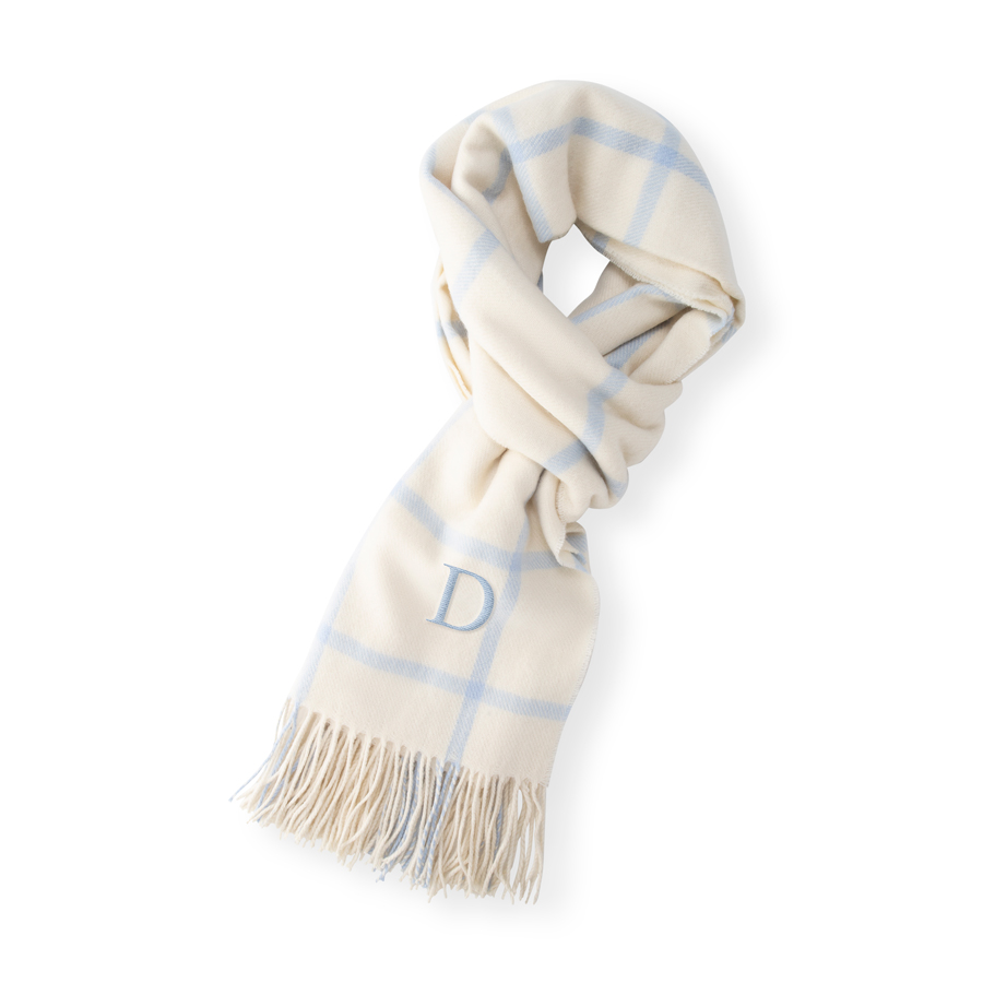 Single initial embroidered in Light Blue thread color on Ice Blue Blanket Scarf