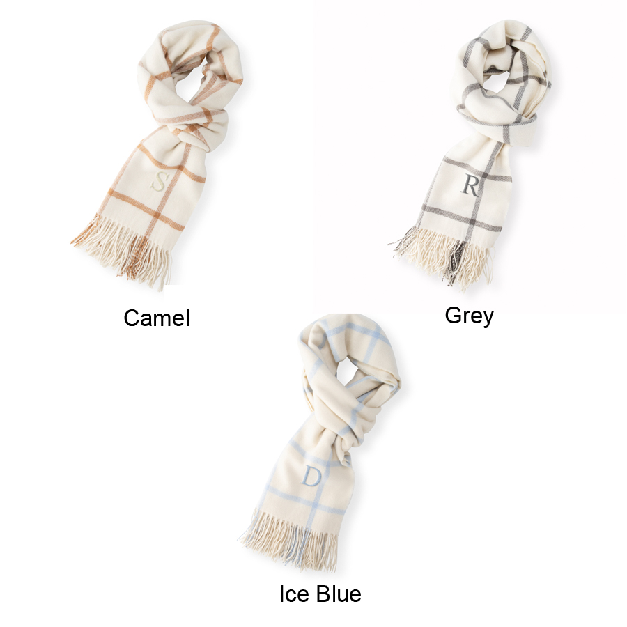 Color options for personalized windowpane scarf, available in Camel, Grey, or Ice Blue