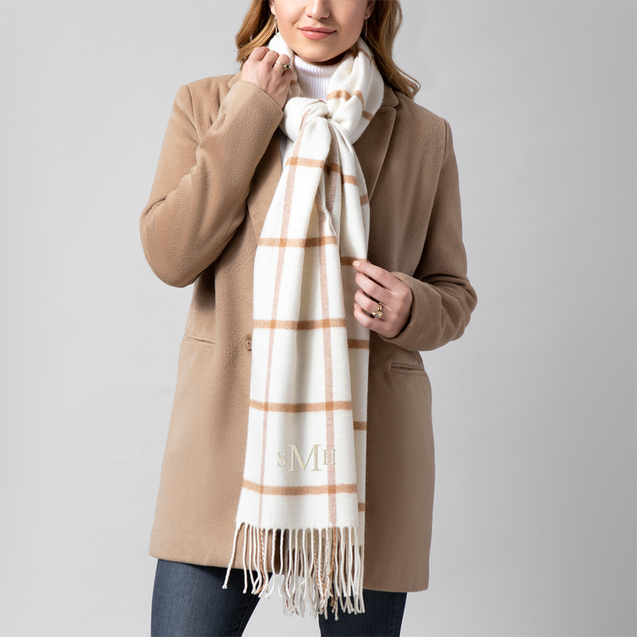 Personalized blanket scarf in Camel with an embroidered 3-letter monogram, in Ivory Thread Color
