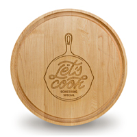 Custom Laser Engraved Round Hardwood Cutting Board
