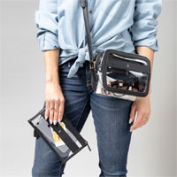 Personalized Clear Stadium Set in Black shown with the crossbody bag and matching clutch
