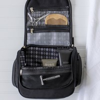 Personalized men's black waxed canvas and leather hanging toiletry bag