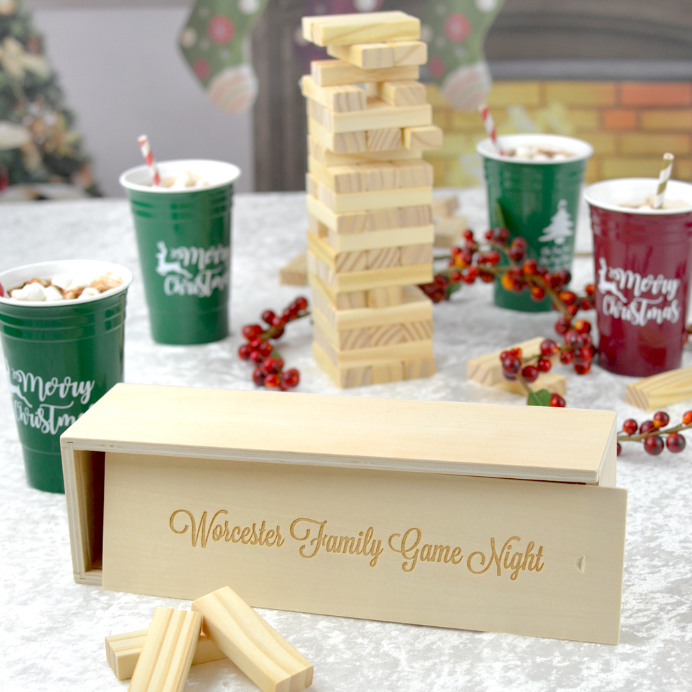 Personalized Stacking Block Family GamePersonalized Stacking Block Family Game with a single line of text in script lettering style