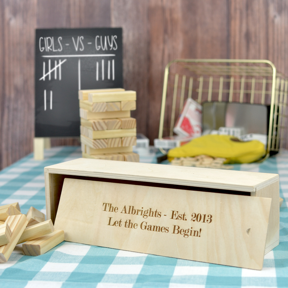 Personalized Stacking Block Family GamePersonalized Stacking Block Family Game with two lines of text in block lettering style