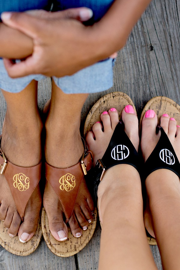 Personalized everyday faux leather sandals