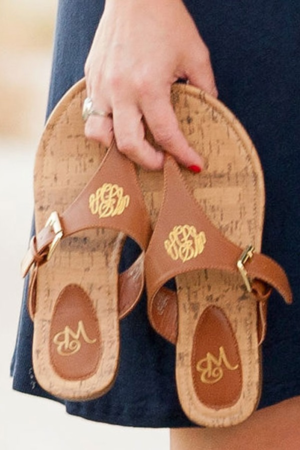 Custom monogram on personalized everyday brown faux leather sandals