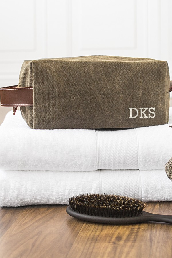 Personalized men's wet waxed canvas and leather toiletry bag