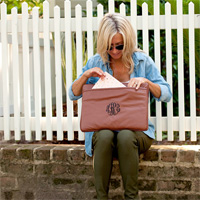 Camel Laptop Sleeve with Master Circle 3-Letter Monogram in Black Thread Color