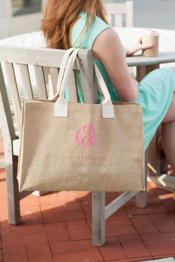 Burlap Tote Bag with 3-Letter Monogram