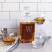 Personalized Glass Whiskey Decanter Set