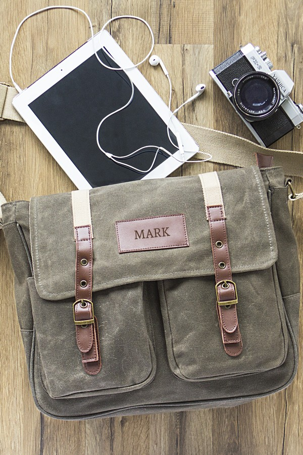 Personalized men's wet waxed canvas messenger bag