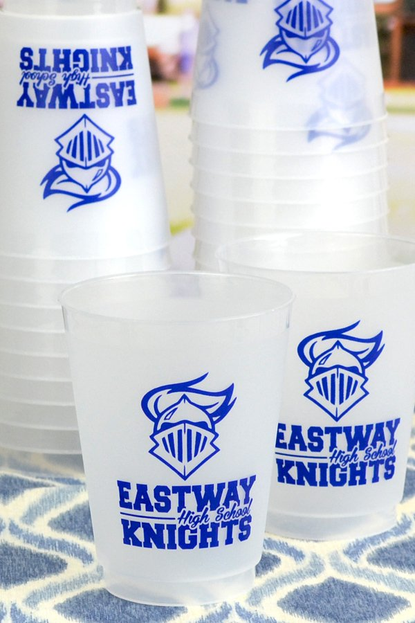 Frosted plastic 16 ounce shatterproof cups printed with knights mascot and Royal Blue imprint