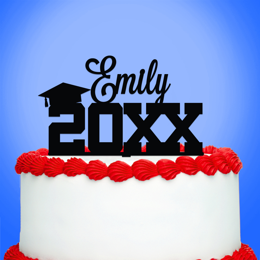 Personalized Graduation Cake Topper with Custom Name