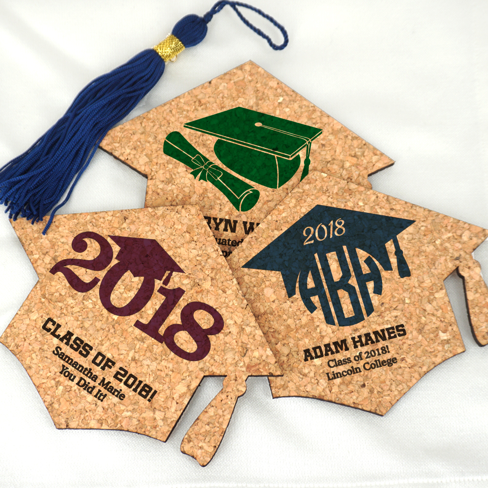 Uniquely shaped like a graduation cap, these personalized graduation cork coasters are an adorable and fuctional guest souvenir for your celebration.