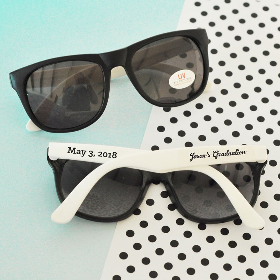 Personalized White & Black Graduation Party Sunglasses