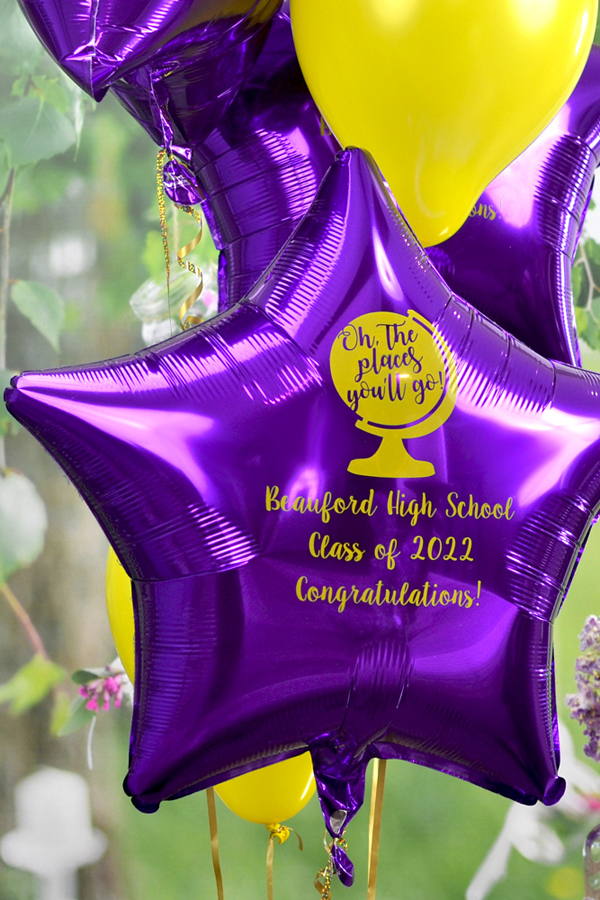 Personalized Mylar Star Balloon in Metallic Purple with Yellow Imprint Color, design G1205 and three lines of custom print in Sugar Plum lettering style.