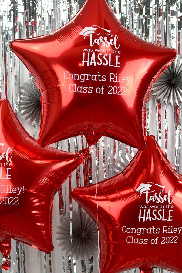 Personalized Mylar Star Balloon in Metallic Red with White Imprint Color, design G1204 and two lines of custom print in Adventurous lettering style.