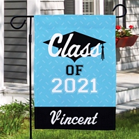 Light blue diamond 'Class of' graduation garden flag personalized with graduation year and student's name
