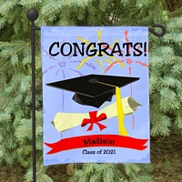 Fireworks design graduation garden flag with graduation cap and diploma graphics above personalized graduate name and graduation year for displaying in garden, lawn or window