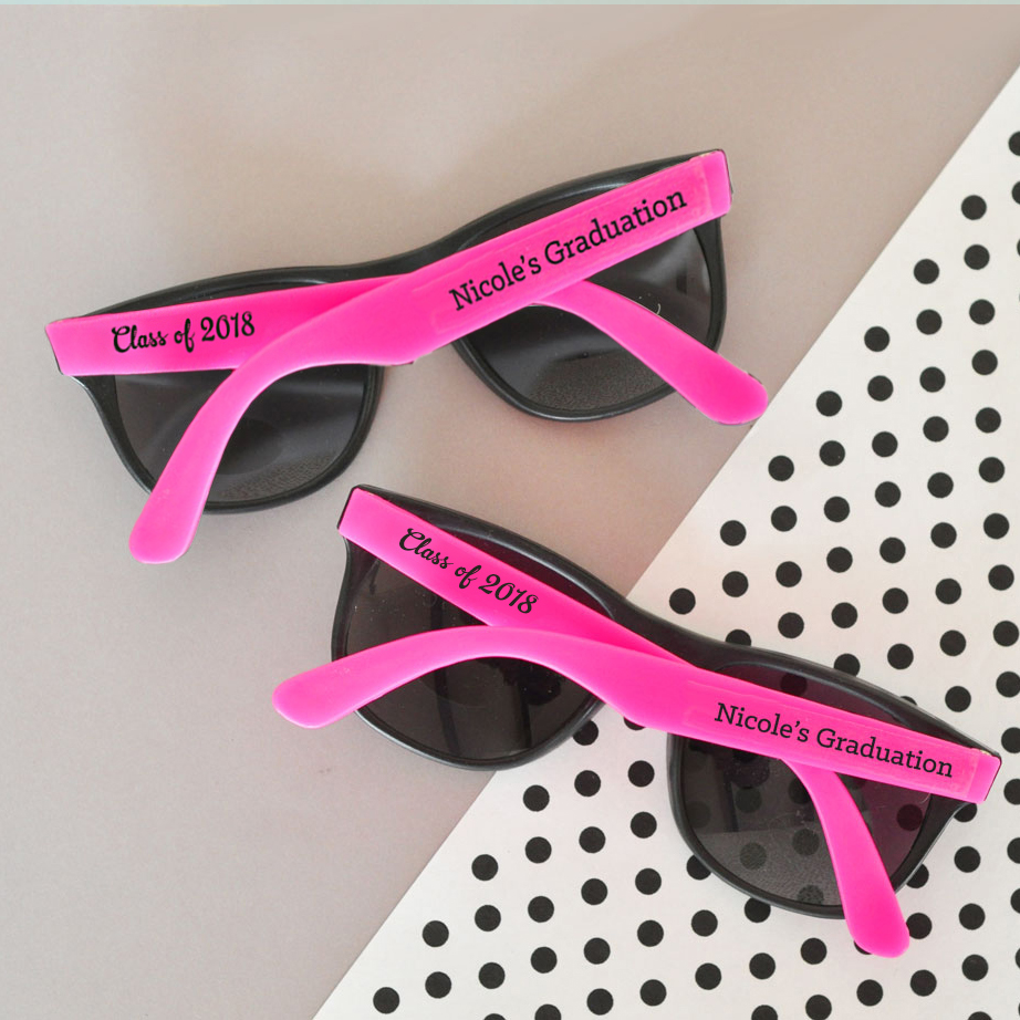 Personalized Hot Pink & Black Graduation Party Sunglasses