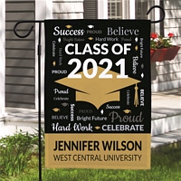 Kudos Class of graduation cap garden flag personalized with graduation year, student's name and school name on Gold background color