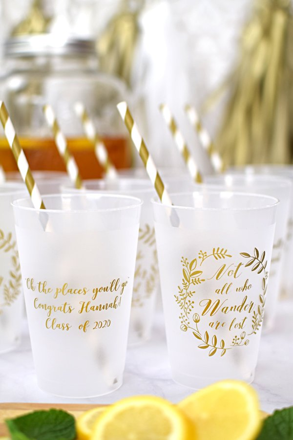 Not all who wander are lost.  The perfect graduation party favor idea.  Serve punch and soda pop in reusable, 14 ounce frosted plastic graduation party cups.  These reusable cups are dishwasher-safe and custom printed with a fun graduation design so guests can take them home as party souvenirs.