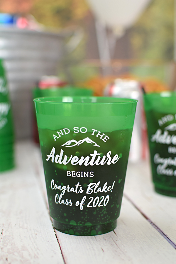 Let the Adventure Begin. Reusable, personalized 16 oz graduation party cups are available in 5 colors and are ideal for serving punch and iced tea.  Great guest souvenirs.