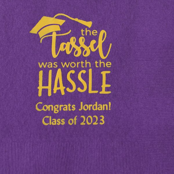 Purple beverage napkins printed with Yellow imprint color, G1204 design, and Natural lettering style
