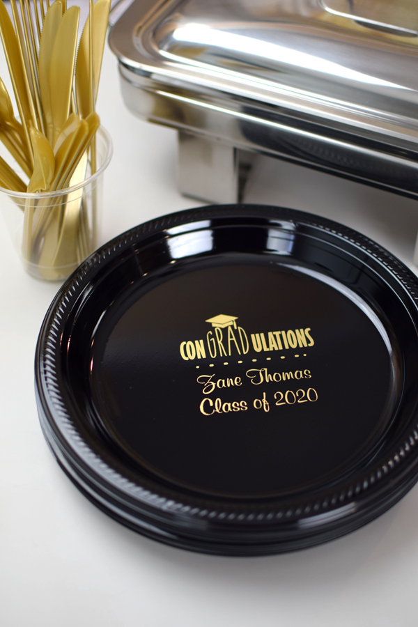 Personalized 10 inch plastic dinner plates are the perfect complement to any graduation party buffet line. Custom printed with a fun graduation design of your choice and your own special message to celebrate the recent graduate.