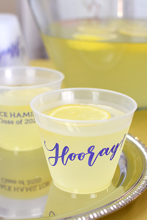 Hooray. Celebrate the recent grad and serve punch in these short, personalized 9 oz squat cups at your graduation party. Reusable and dishwasher safe for the perfect guest souvenir favor idea.