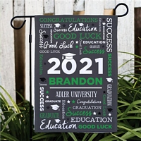 Green and white word art graduation flag personalized with graduate's name, graduation year and school name