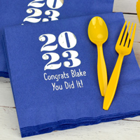 Paper napkins personalized for graduation party