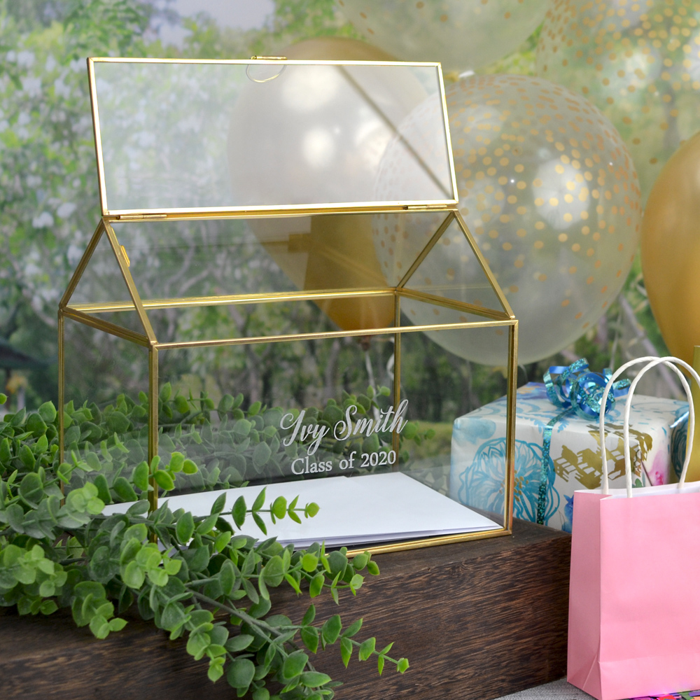 Gold trim glass terrarium personalized with graduate's name and additional line of custom print for holding gift cards at graduation party