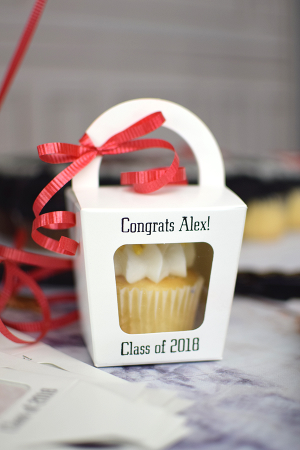 These personalized cupcake boxes are a cute way to display your cupcakes and give guests an easy, take-home favor they will actually love.