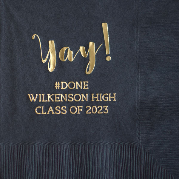 Black luncheon napkins printed with Gold imprint color, G1214 design, and Eligible lettering style